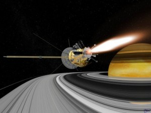 Cassini animation of thruster burn,