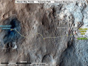 MSL Rover driving path August 2012-December 2012