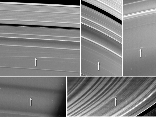 Cassini spacecraft in orbit around Saturn captured plumes of dust caused by meteoroids impacting the planet's  rings. CREDIT: NASA/Cornell