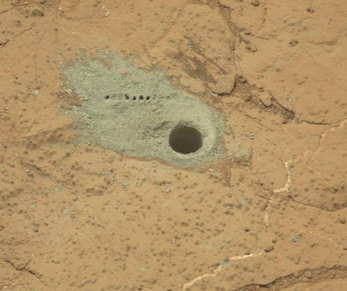 Drilled Hole and ChemCam Marks at 'Cumberland'