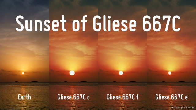 Sunsets as they may appear from the planets of Gliese 667c