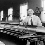 Roswell New Mexico, 1939. Robert Goddard lovingly cradles one of the rocket