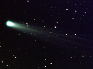 Comet ISON Streaks Toward the Sun Comet ISON shows off its tail in this three-minute exposure taken on Nov. 19, 2013 at 6:10 a.m. EST, using a 14-inch telescope located at the Marshall Space Flight Center. The comet is just nine days away from its close encounter with the sun; hopefully it will survive to put on a nice show during the first week of December. The star images are trailed because the telescope is tracking on the comet, which is now exhibiting obvious motion with respect to the background stars over a period of minutes. At the time of this image, Comet ISON was some 44 million miles from the sun -- and 80 million miles from Earth -- moving at a speed of 136,700 miles per hour. Image credit: NASA/MSFC/Aaron Kingery