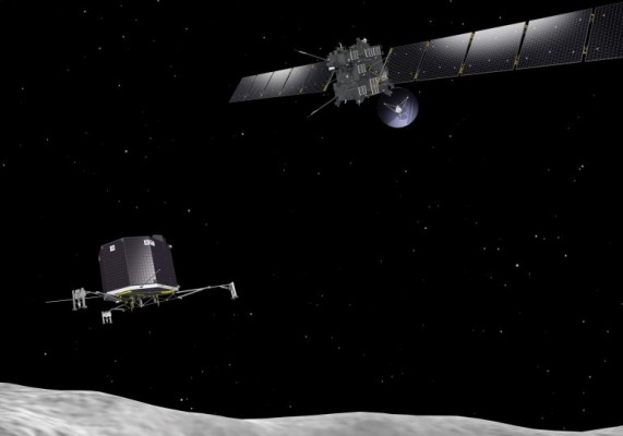 Artist's concept of the Rosetta satellite and the Philae lander.  ESA–J. Huart