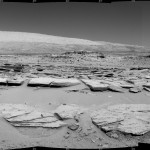 Martian Landscape with Rock Rows and Mount Sharp