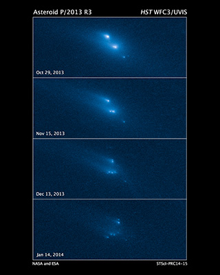 Hubble Space Telescope images reveals the breakup of an asteroid over a period of several months starting in late 2013