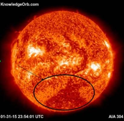 Unusual dark area on the sun 1/31/15