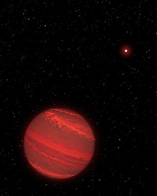 This is an illustration of a planet that is four times the mass of Jupiter and orbits 5 billion miles from a brown-dwarf companion (the bright red object seen in the background).